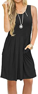 Women's Sleeveless Pleated Loose Swing Casual Dress with Pockets Knee Length