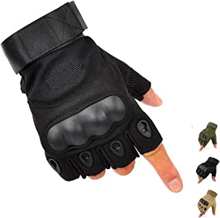 K-mover Outdoors Camping Half Finger Gloves Tactical Fingerless Tactical Gloves Durable Hard Knuckle Cycling Motorcycle Gloves for Shooting Hunting Motorcycling Climbing