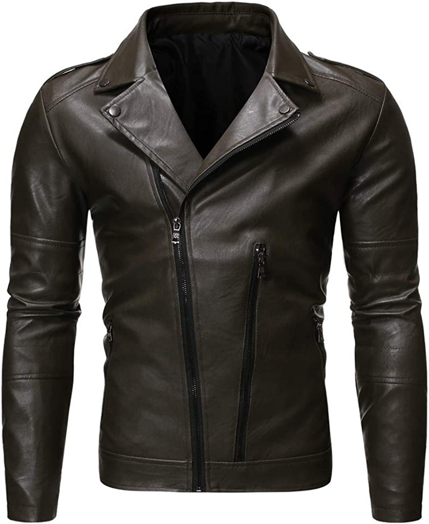 eipogp Men's Fashion Leather Jacket Lapel Collar Faux Leather Coat Lightweight Slim Fit Outwear with Zip Cuff