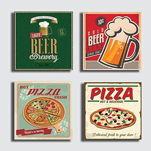 Quadri Moderni 4 pezzi 40x40 cm stampa su tela canvas - quadro moderno Arredamento vintage Negozio Bar Pizzeria Ristorante Caffè Pizza Pub Birra