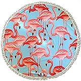 BEUFIRST Toalla de Piscina Redonda 100% Polyester de Secado rápido flamencos. (150 cms diámetro). Toalla de Playa poliéster Redonda. Toalla de mar