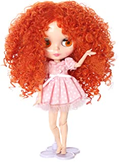 Wigs Only! Orange Long Afro Wavy Doll Wig for Blythe Pullip Doll with 25cm Head