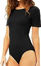 MANGDIUP Women's Round Collar Short Sleeve Elastic Bodysuits Jumpsuits