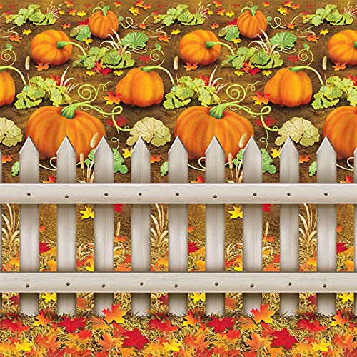 Beistle Printed Plastic Autumn Pumpkin Patch Photo Booth Backdrop Fall Harvest Thanksgiving Party Decorations, 4' x 30'