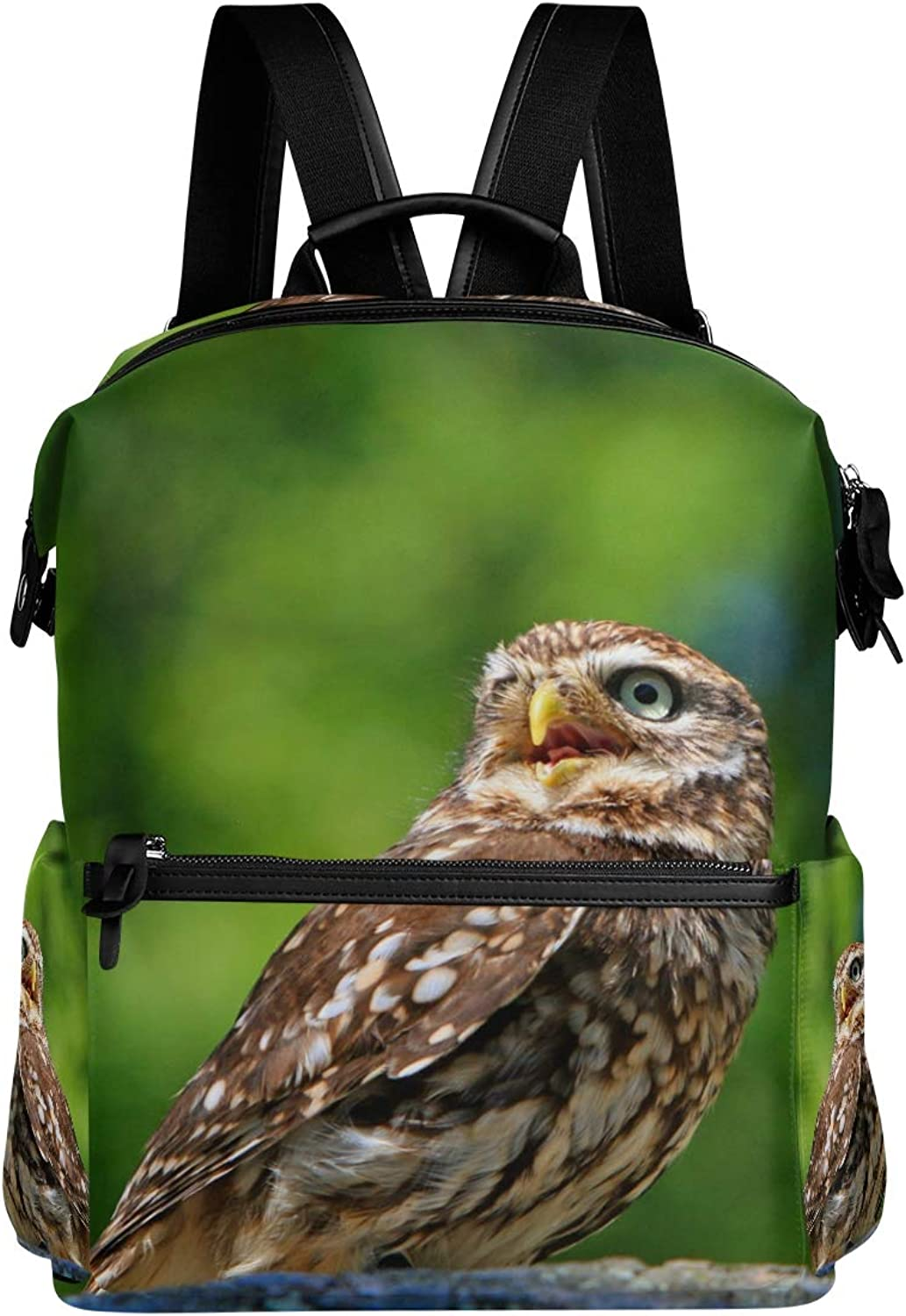 MONTOJ Crying Baby Owl Leather Travel Bag Campus Backpack