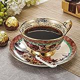 Panbado, Porzellan Kaffee Set, 3-teilig Kaffeeservice, 200 ml Kaffeetasse mit Untertasse und Löffel