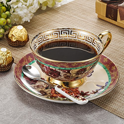 Panbado Tazas de Café de China de Hueso, 200ml, Juego de Café de Porcelana Blanca y Translúcida Tazas de Té para Hogar, Oficina, Restaurante, Regalo para Cumpleaños, Festival - Flores y Mariposas