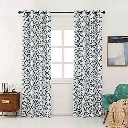 Reepow Moroccan Fashion Room Darkening Curtains 96 Inches, Teal and Grey Grommet Blackout Window Drapes for Sliding Glass Door - 52