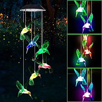 KUAHAIHINTERAL Wind Chime Outdoor Led Solar Powered Wind Chimes for Home/Party/Yard/Mother Day Yard Decoration Gifts (Hummingbird)
