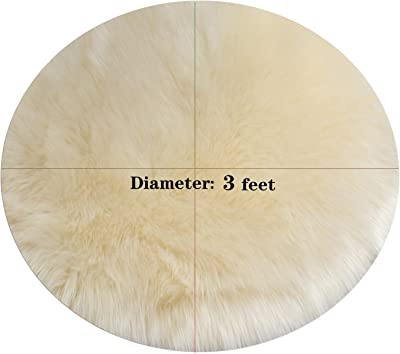 AWCNL Area Carpets Floor mats Fluffy Carpet Imported Artificial Wool Sheepskin Carpet Children's Room Decoration Suitable for Bedroom Floor Sofa Living Room 3 x 3 Feet Round(Beige)