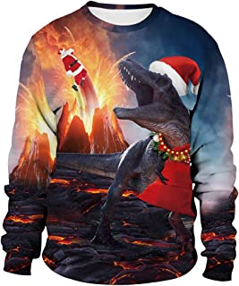 Unisex Ugly Christmas Sweatshirt Men Women Novelty 3D Printing Xmas Santa Reindeer Hoodie & Crew Neck Sweatshirt, Medium Size