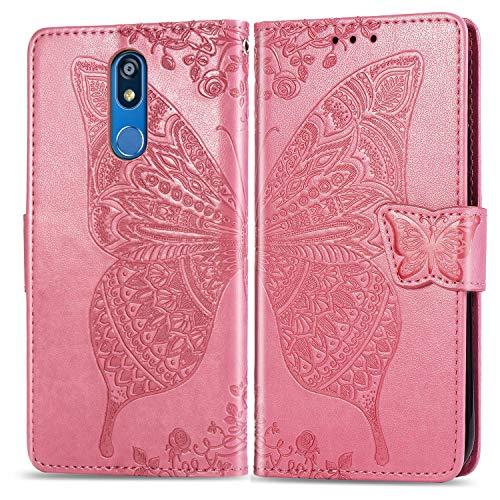 Jeewi Hülle für LG K40 Hülle Handyhülle [Standfunktion] [Kartenfach] [Magnetverschluss] Tasche Etui Schutzhülle lederhülle klapphülle für LG K40 - JESD020944 Rosa