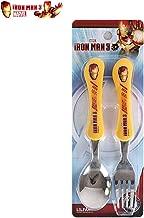 Iron Man Kids Spoon & Fork Set Easy Grip Kids Cutlery Flatware, Non-Toxic Stainless Steel Dinnerware