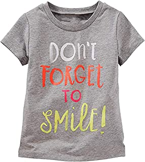 OshKosh Girl's Short Sleeve Don't Forget to Smile Tee; Grey (12 Months)