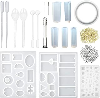 URlighting Jewelry Casting Molds - Silicone Resin Molds Tools Kit (118 Pcs) with Stirrers, Droppers, Spoons, Hand Twist Dr...