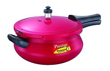 Prestige Deluxe Plus Junior Induction Base Aluminium Pressure Handi, 4.8 Litres, Flame Red