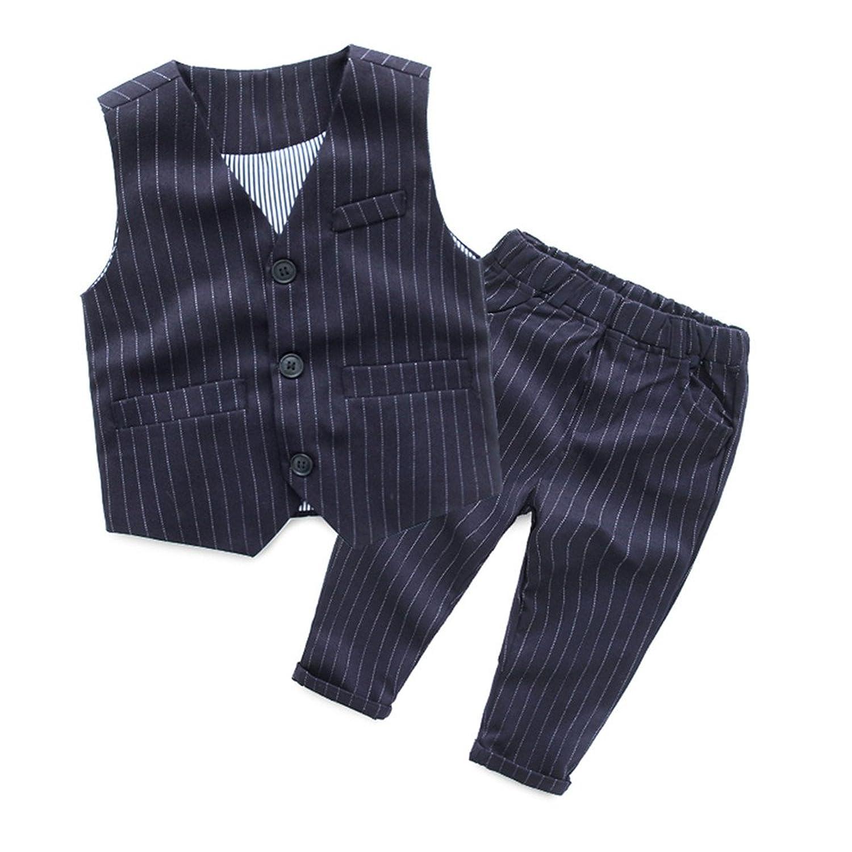 LittleSpring春秋 ボーイズ 男の子 紳士風 フォマール 縦縞 ベスト&ズボン 上下セット 二点セットアップ