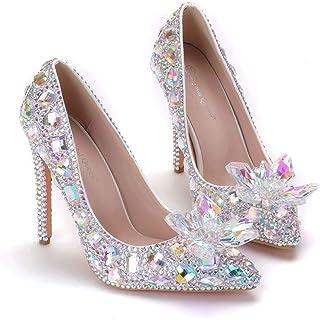 Women's Bridal Shoes,11 cm Diamond flower Pointed shoes,Colorful diamond rhinestone Wedding shoes,Prom Club Business Evening Wedding Party Dress Bridesmaid shoes,38 EU