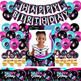 Music Party Decorations with Music Banner,Balloons,Cupcaker Topper,Table Cover and Photo Booth Frame for Boys and Girls Music Birthday Party Supplies.