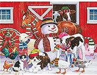 大人のためのDIY油絵キットキャンバス絵画子供は番号でペイント家の装飾壁雪だるまと動物40x50cm