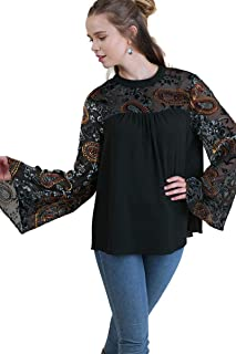 Women's Paisley & Floral Top with Velvet Burnout Bell Sleeves