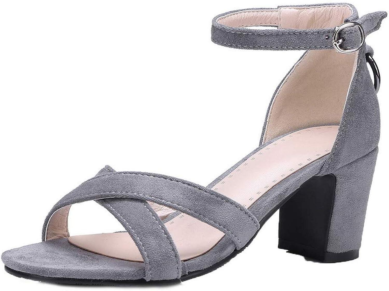 AllhqFashion Women's Buckle Imitated Suede Open-Toe Kitten-Heels Solid Sandals, FBULD015166
