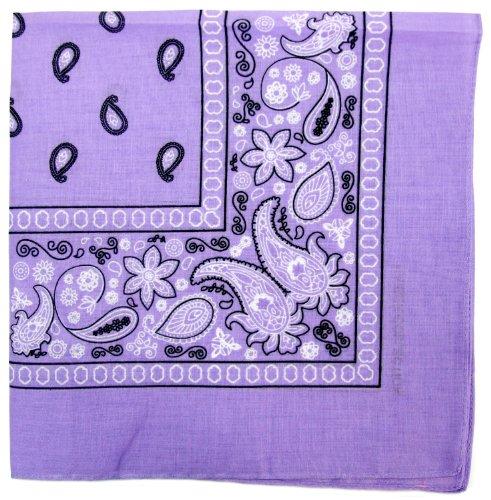 Kaiser Novelty Bandanas Paisley Cotton Bandanas (Lavender 22 X 22 in)
