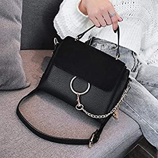 Adebie - 2018 Fashion Women's Messenger Bags Round Chain Handbags Leisure Bags Brand Designer Shoulder Bags Flap PU Leather Tote Bag Black []