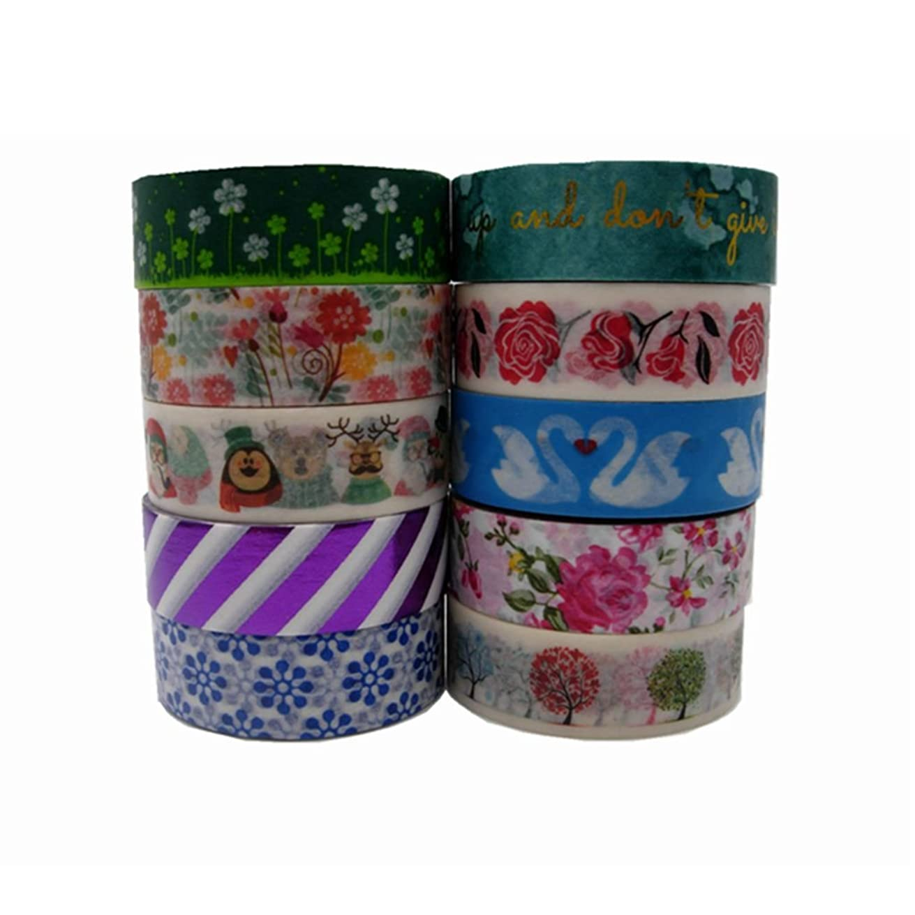 10 Rolls 15mm10m DIY Flower Washi Paper Decorative Sticky Masking Tape Self Adhesive