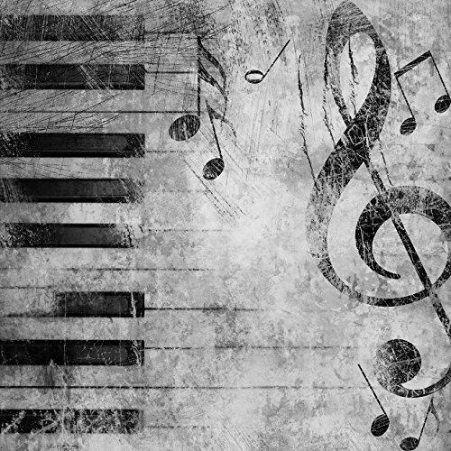 Bilderdepot24 Fototapete selbstklebend Grunge Musik - schwarz weiß 100x100 cm
