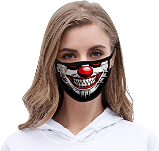 Funyrich Funny Joker Face Mask Black 3D Grinning Printed Fabric Face Cover Reusable Halloween Clowns Costume Face Masks Decoration for Women and Men