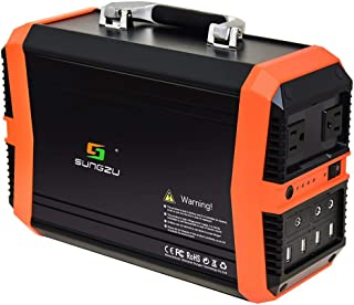 Sungzu 300W Portable Solar Generator, 350Wh Portable Power Station 93600mAh with 110V/2.73A AC 12V/8A DC 5V/3A USB Outlet for Outdoors Camping Fishing Emergency