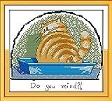 WOWDECOR Kit de broderie au point de croix avec motif animal de chat 11 CT estampillé DIY DMC Needlework facile débutant