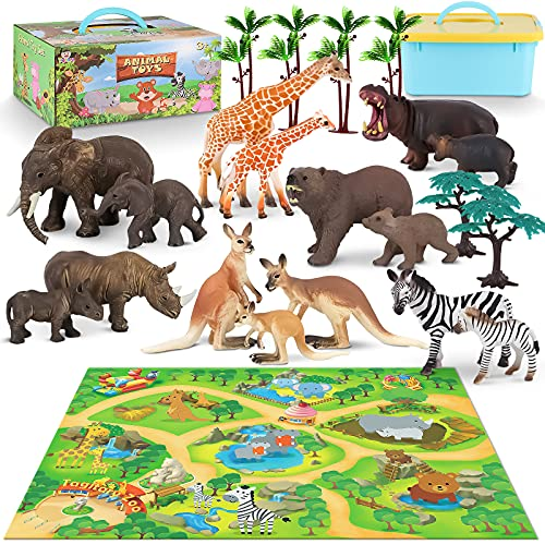 Animal Toy for Toddlers Zoo Animals Figures Play Set with Activity Play Mat and Trees  Realistic Jungle Animal Figurines Mom&Baby Animal Set with Elephant  Giraffe  Zebra Toy for Kids 24 Pieces