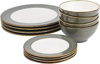 ProCook Napa - Vaisselle de Table en Porcelaine Blanche - 12 Pièces/Pour 4 Personnes - Petite Assiette, Grande Assiette & ...
