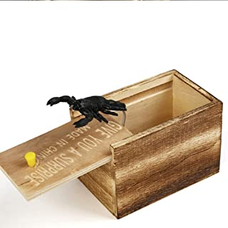 Prank box, handmade wooden surprise box prank, surprise box funny and practical surprise joke box for Halloween (Rubber Sc...