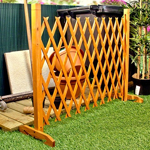 Expanding Fence Garden Screen Trellis Style Expands to 6'2' Freestanding Wood