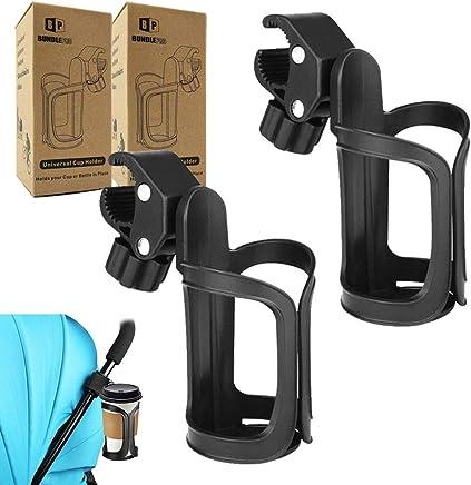Mengonee Baby Stroller Double Cup Holder Travel Stroller Organizer Pram Cart Bottle Rack Milk Water Drinker Holder Black