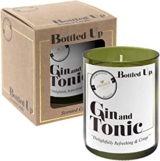 Bottled Up Scented Candle Gin and Tonic Created in Bottom of Wine Bottle