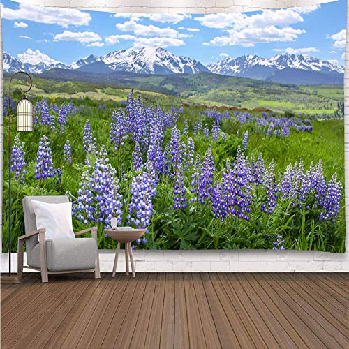YISURE Lavender Purple Wild Flower Tapestry Wall Hanging, Nature Landscape Mountains Grassland Wall Tapestries Beach Towel, 80x60 Inch