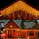 Icicle Lights Outdoor Christmas Lights 400 LED String Lights Curtain Fairy Light with 75 Drops, 33ft 8 Modes Decor for Christmas Thanksgiving Halloween, Warm White