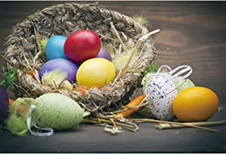 CSFOTO 6x4ft Happy Easter Backdrop for Photography Easter Backdground Easter Painted Eggs Bird Nest Plume Kids Newborn Portrait Photo Studio Props Polyester