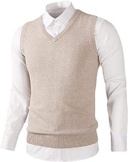 dahuo Mens Casual Slim Fit Knit Sweater Sleeveless Vest Waistcoat