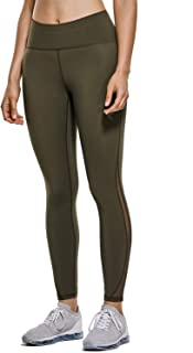 CRZ YOGA Women's Naked Feeling High Waist 7/8 Mesh Tight Workout Leggings with Zip Pocket-25 Inches