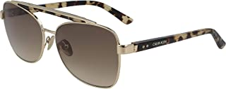 نظارة شمسية للنساء من كالفن كلاين، بني، 58 ملم - CK19307S