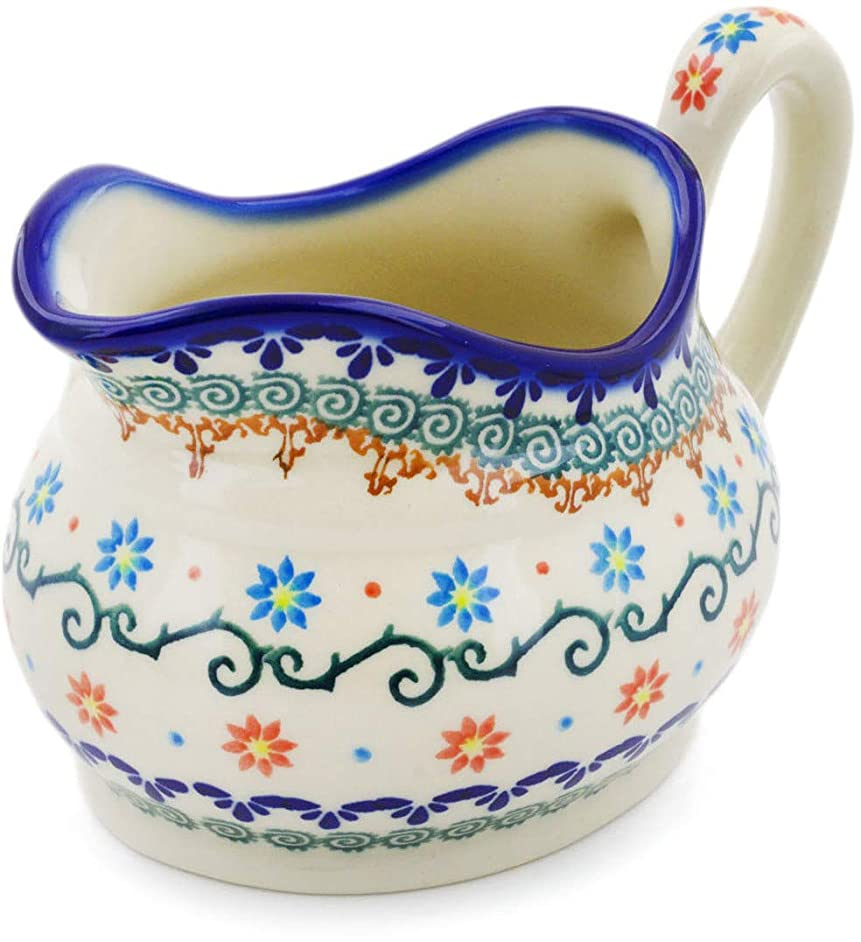 Polish Pottery 18 oz Gravy Boat (Sunflower Dance Theme) + Certificate of Authenticity