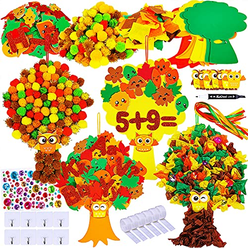 Winlyn 8 Sets Fall Decoration Tree of Thanks Craft Kit Foam Fall Tree Board with Autumn Leaf Letter Number Stickers Pom-Poms Tissue Paper Squares for Kids Classroom Art Thanksgiving Holiday Decor