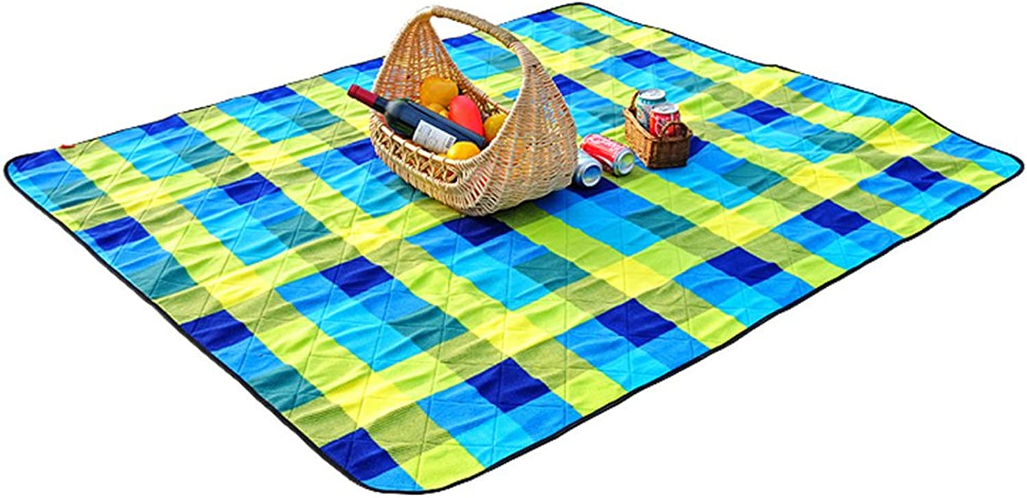 Outdoor Portable Picnic Blanket, Flannel Thicken Oxford MoistureProof Wear Resistant Camping Mat with Carrying Bag Picnic Mat