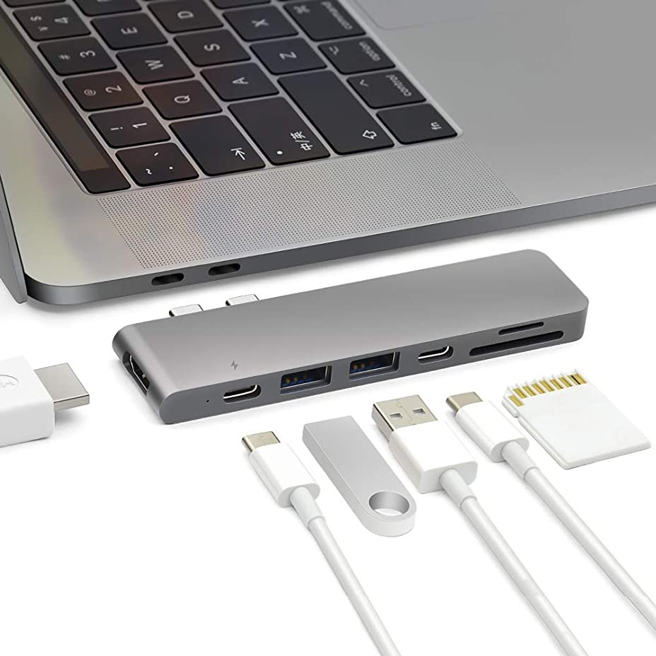 トーストサービス貸し手USB C ハブ Macbook Pro 13/15インチ用type c usb ハブ Thunderbolt3、USB Type-C、USB3.0x2、SD/MicroSDカードリーダー、4KHDMIを追加するアルミニウムusb type c ハブ