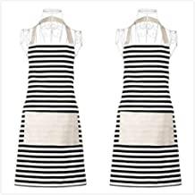 Xornis 2 Pack Women Apron with 2 Pockets Classic Horizontal Striped Ladies Cute Aprons Chef Kitchen Holiday Artist Adjustable Bib Apron, Polyester-Cotton Canvas Fabric (Black)